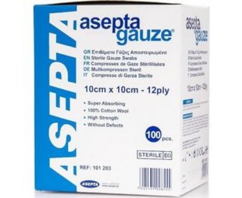 Γάζα αποστειρωμένη asepta 10cm x 10cm 12ply (100 τεμαχίων)