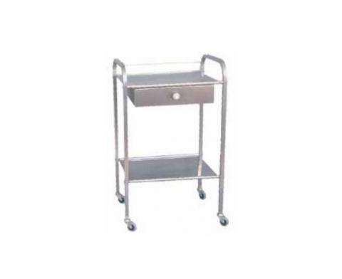 Τραπέζι τροχήλατο INOX με 2 ράφια και συρτάρι
